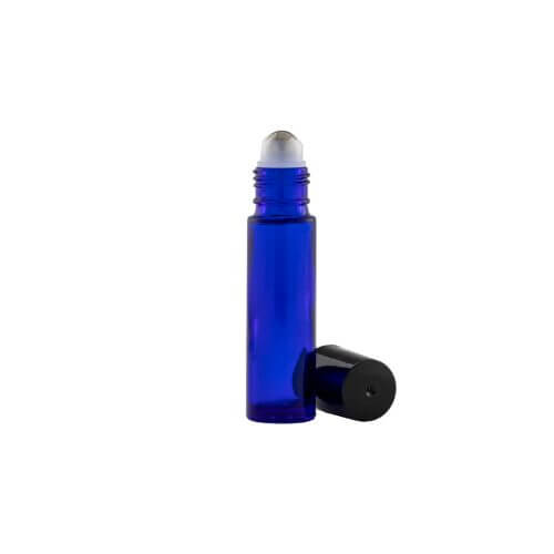 Blue 10 mL Glass Roller Ball with the top off
