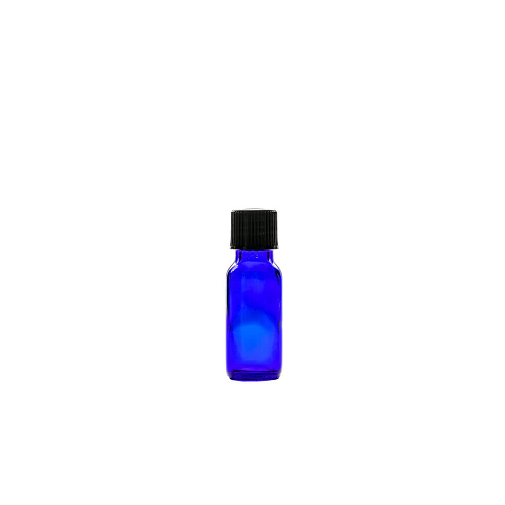 Blue .5oz Glass With Cap Apothecary Bottles
