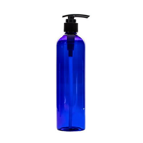 blue 12oz Plastic Bottle with Pump Apothecary Bottles