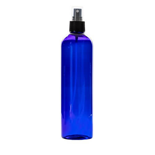 blue 12oz Plastic With Spray Apothecary Bottles with a spray nozzle on top