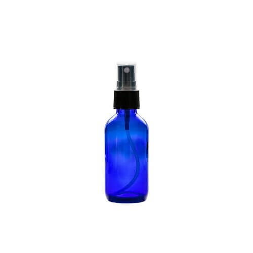 blue 2oz Glass With Spray Apothecary Bottles with a spray nozzle