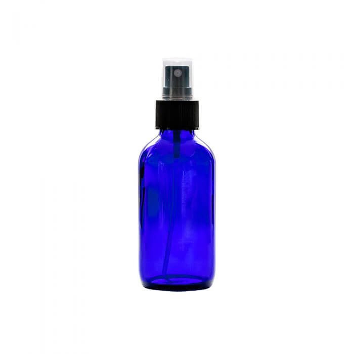 blue 4oz Glass With Spray Apothecary Bottles with a spray nozzle top closed