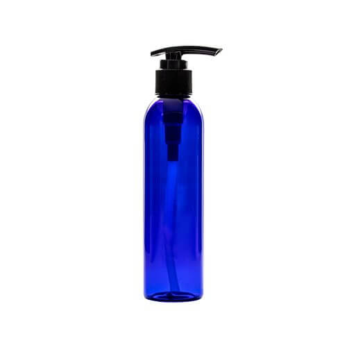 Blue 6oz Plastic With Pump Apothecary Bottles with a plunger top