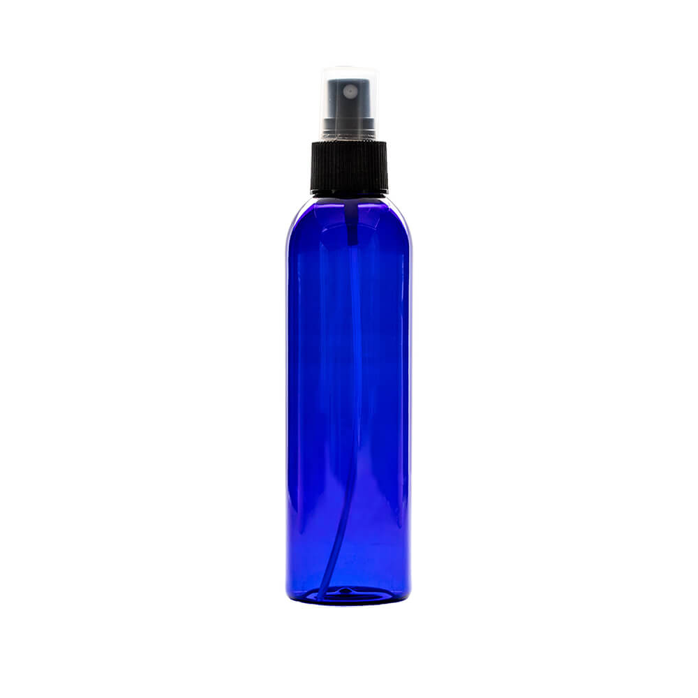 blue 6oz Plastic With Spray Apothecary Bottles with a spray nozzle tip