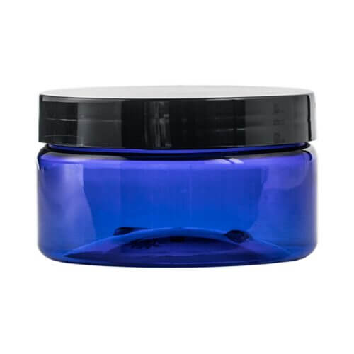 blue 8.45oz Plastic Jar with a screw on top
