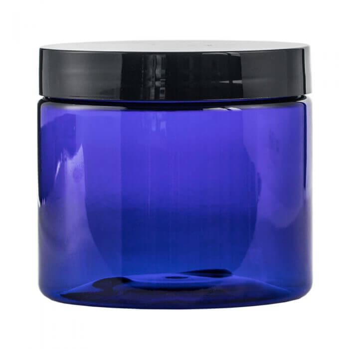 blue 16.9oz Plastic Jar with a screw on top