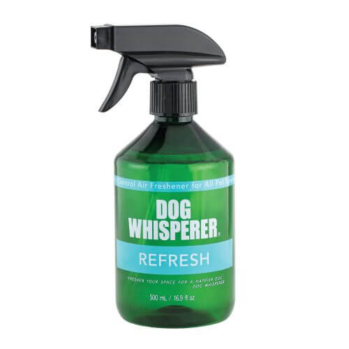 Dog Whisperer Refresh Air Freshener Spray 500mL opened and ready to be sprayed