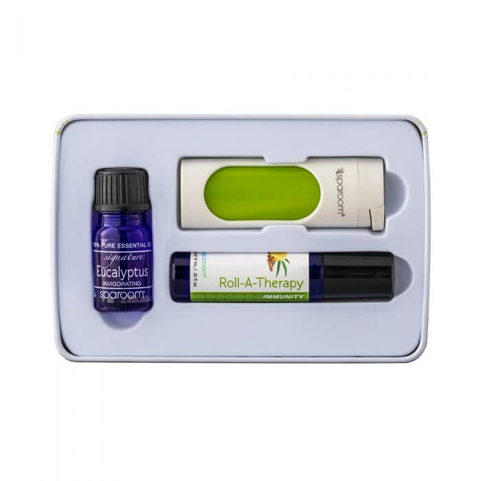 Guardian Essentials Tin with Essential Oil Topical Roll-on and PocketAroma contents