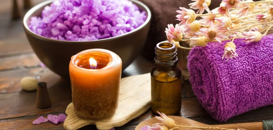 Reduce Anxiety With Aromatherapy and Lavender Salt With Candle