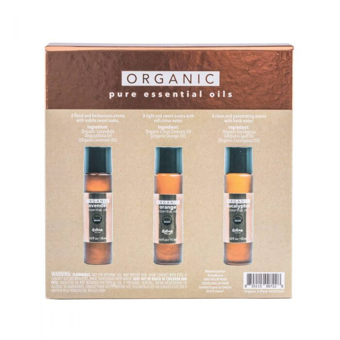 Aroma Source 3 Pack Organic Essential Oils Back Closed