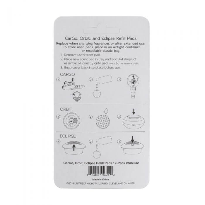 CarGo and Orbit and Eclipse Essential Oil Refill Pad Back