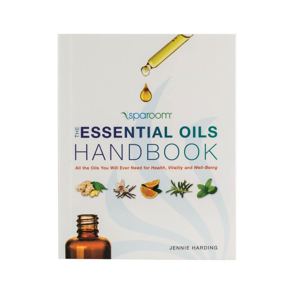 SpaRoom Essential Oils Handbook with a beautiful cover page of essential oils