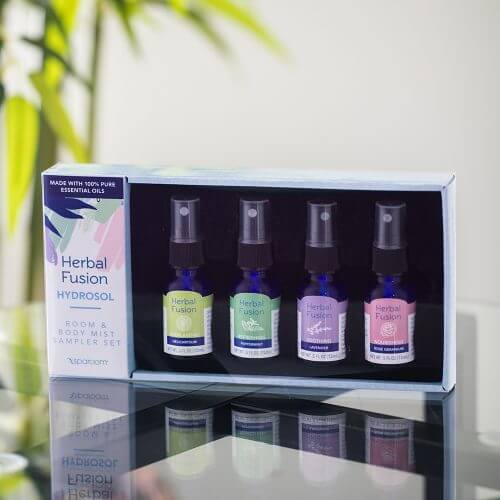 Herbal Fusion Hydrosol Kit on Glass Table