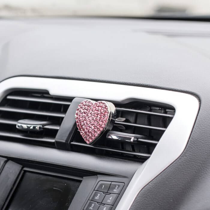 Pink BlingAir Car Diffuser on vent clip in car
