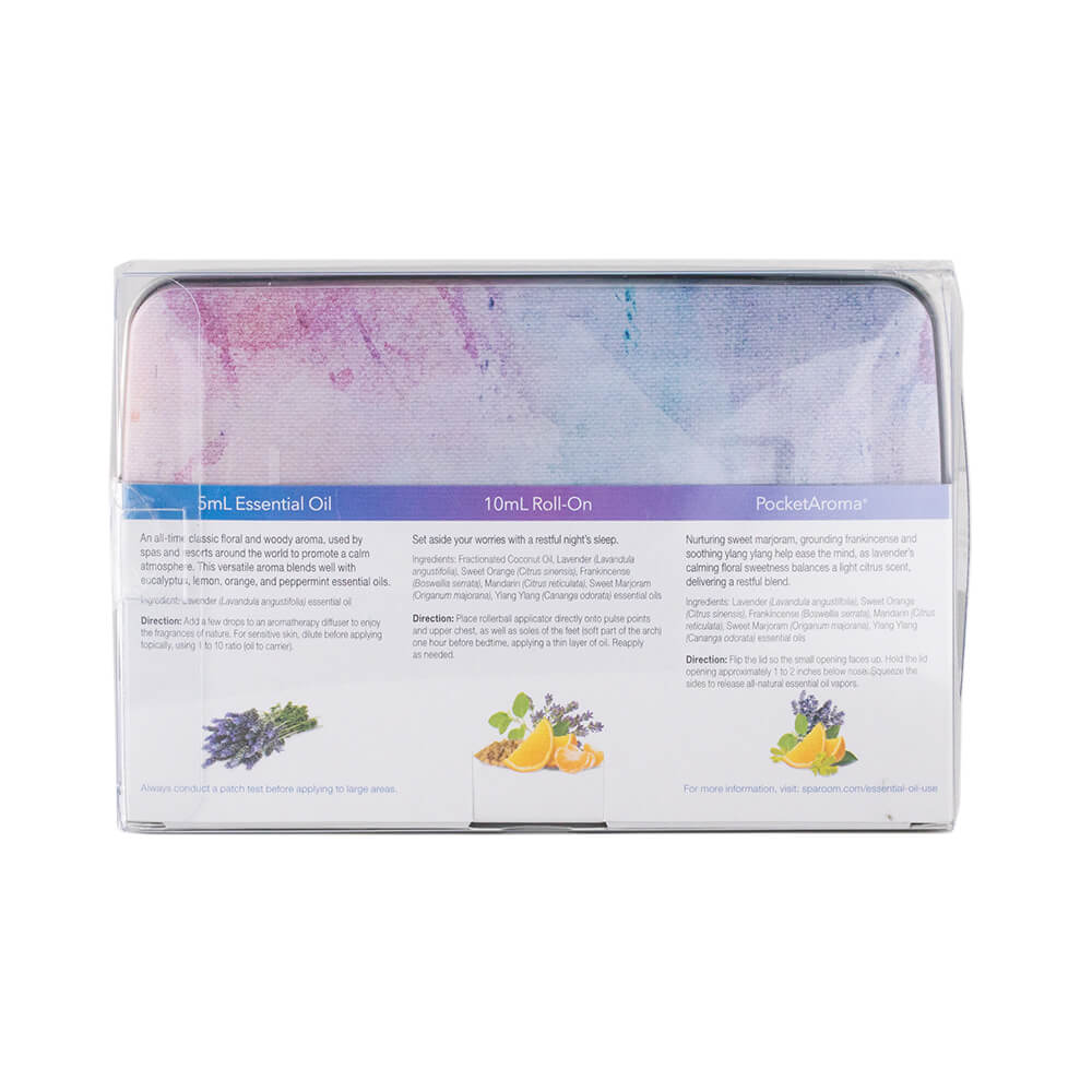 Sleep Essentials Tin Package Essential Oil Topical Roll-on Pocket Aroma package back