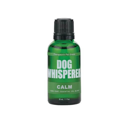Dog Whisperer Calm Essential Oil 30mL in a green bottle that is closed
