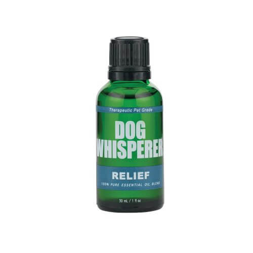 Dog Whisperer Relief Essential Oil 30mL in a green bottle that is closed