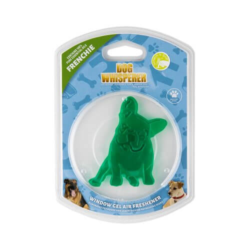 Dog Whisperer Frenchie Window Gel Air Freshener in its packaging