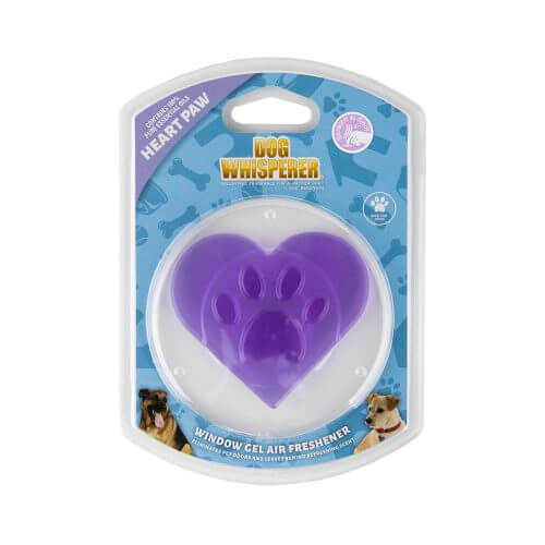 Dog Whisperer Heart Paw Window Gel Air Freshener in its packaging