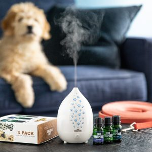 Dog Whisperer PureBreathe Essential Oil Diffuser and 3 pack Oils with dog