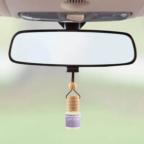 Trapeze Lavender Air Freshener on rear view mirror