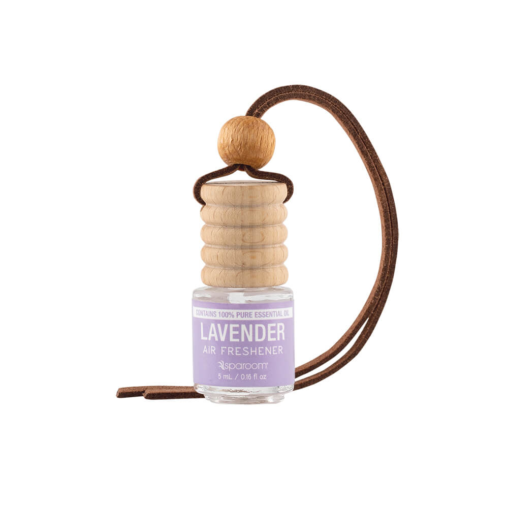 Trapeze Lavender Air Freshener with leather rope ready to be hung on a car