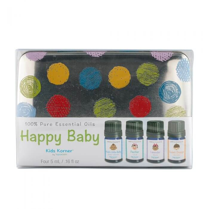 Happy Baby Essential Oils Tin 4 pack tin of 10 mL oil bottles