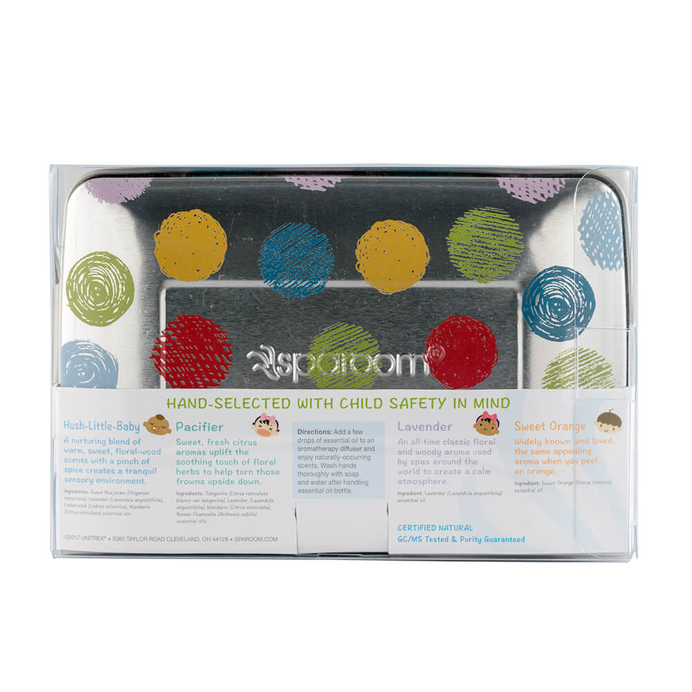 Happy Baby Essential Oil 4-pack Tin back package