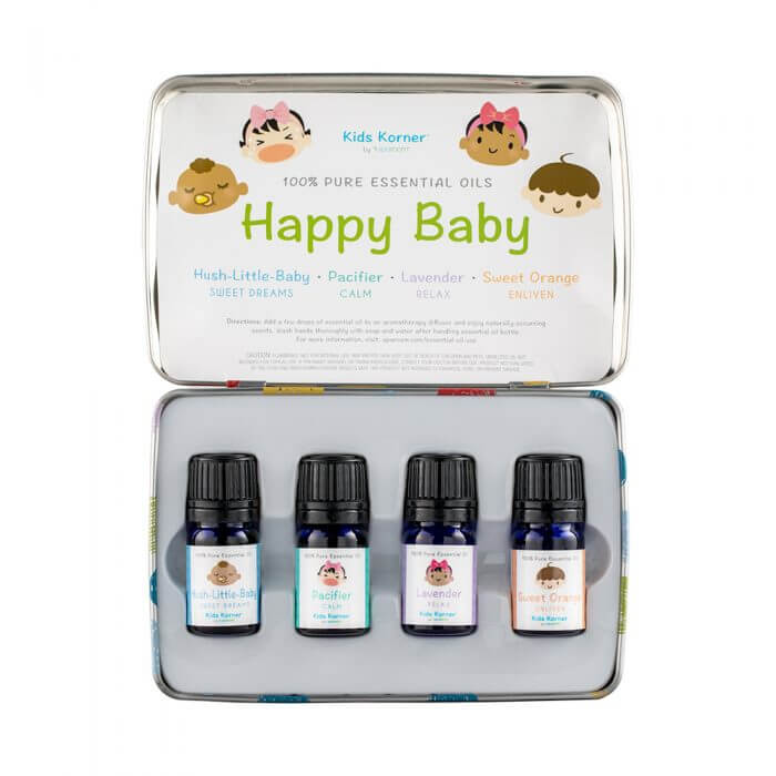 Happy Baby Essential Oil 4-pack Tin contents