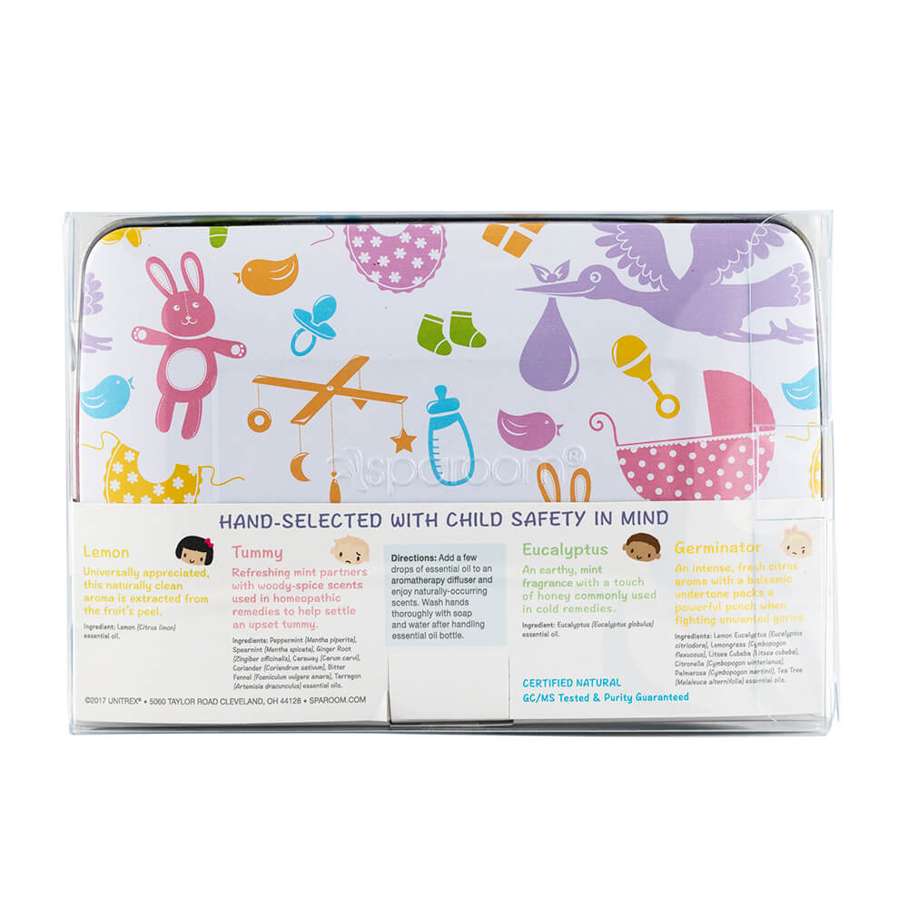 Healthy Baby Essential Oil 4-pack Tin back package