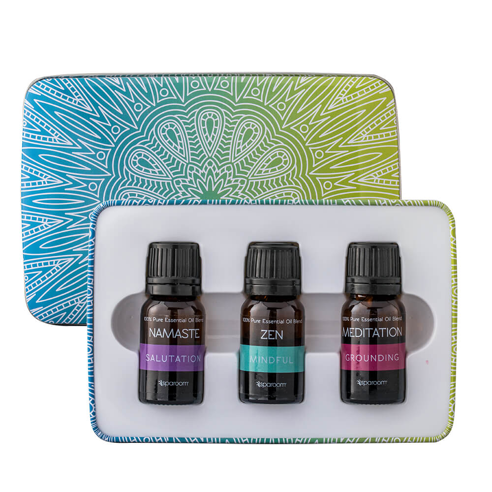 Yoga Essentials Tin opened showing oils