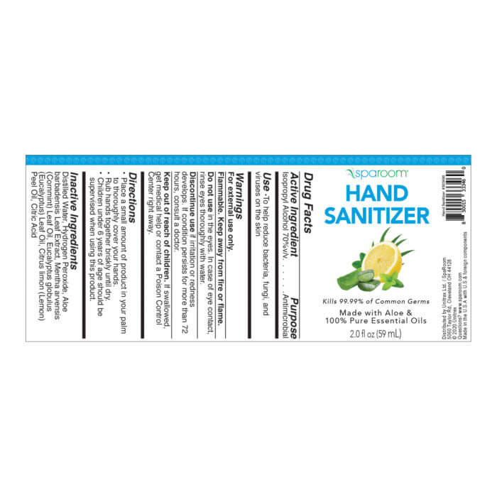 SpaRoom hand Sanitizer with essential oil label directions and ingredients